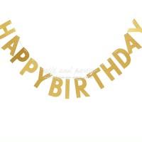 Bunting Flag Happy Birthday Gold / Banner Happy Birthday Gold