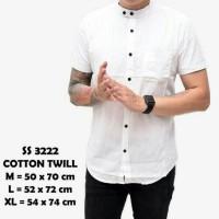 Jual kemeja pria cowok lengan pendek warna putih kerah shanghai | baju koko Murah