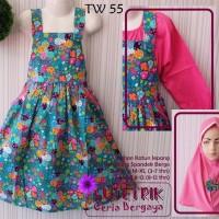 (3-4th) Gamis Cutetrik TW55 Baju Muslim Overall Katun jepang