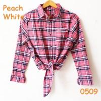 Jual kemeja tali peach crop top kotak salem warna pastel murah flanel shirt Murah
