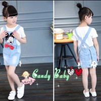 SET CANDY BABY GIRL OVERALL DRESS MICKEY | DRESS JEANS ANAK PEREMPUAN