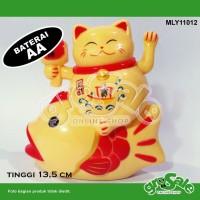 Jual Kucing Hoki Ikan Kuning MLY11012-Maneki Neko-Lucky Cat-Koleksi-G052LB Murah