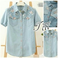 144218 kemeja denim flo 45.000 Bahan denim fit to L, LD 94, pjg 60, dp
