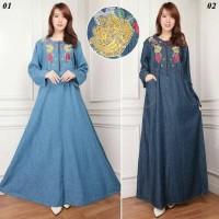 Jual maxi dress jeans jumbo ananda gamis bordir kaftan Murah