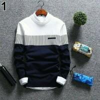 Baju Rajut Pria Korea Zico Navy Sweater Murah