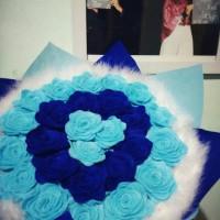 Jual Buket Bunga flanel bulu biru / kado wisuda / kado anniversary / ultah Murah
