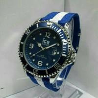 jam tangan pria wanita ice watch kanvas biru putih biru