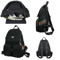 Tas Ransel Bagpack Backpack Strip Stripe Nilon Gucci Branded Original