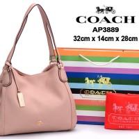 Tas Coach Edie Shoulder Grained Leather SOFTPINK Semprem AP3889