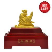 PROMO patung/souvenir/pajangan emas lapis 24k shio tikus (rat)