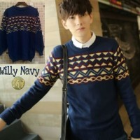 Jual Sweater Pria TRIBAL WILLY Navy - Fit to L Murah