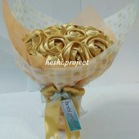 Jual Buket Bunga Satin Gold Murah