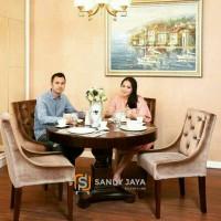 meja makan bundar rafi gigi, meja makan minimalis, kursi makan jati