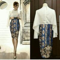 Dress Midi/Mini/Gaun Batik Modern Combi Wolfish Elegant Party/Pesta