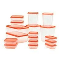 Ikea Pruta/ Toples Container Set isi 17Pcs/ Kotak Makan/Box ORANGE O