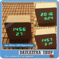 Jam Weker LED Digital Kayu - JK-859 MURAH