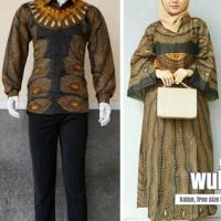 baju couple gamis batik terbaru hem lengan panjang warna kuning DY1801
