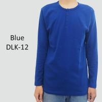 a93a746b6a7 Kaos Polo Shirt Lengan Panjang Polos Kancing Henley Blue Biru DLK-12
