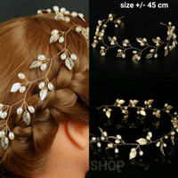 hairpiece daun gold hiasan aksesoris rambut pesta