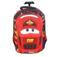 Tas Troley Sekolah Anak SD Cars McQueen 3D Hard Cover Timbul