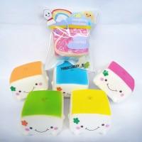 Squishy Marshmallow Cute Bun /Squishy Tofu Medium Warna Packaging