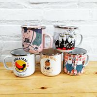 Mug/gelas enamel seri gambar yang unik dan limited