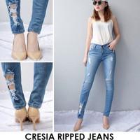 Celana Jeans Wanita Cresia Ripped Sobek Dengkul Skinny Murah