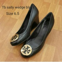 Tory burch sally wedge black sepatu asli original shoes branded shoes