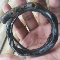 Gelang Akar Bahar Hitam Lentur Natural Unik Antik 3 Lilit
