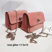 Tas Selempang Coach Original / Turnlock Chain Crossbody Rose Glitter
