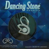 Liontin Dancing Stone Angsa Emas Putih Kadar 75