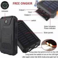 Jual Power Bank Solar Waterproof 2 USB Port 12000mAh dengan LED Lig Limited Murah