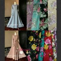 Gamis Syar'i, Gamis Katun Jepang Motif Bunga, Resleting Depan/ Busui