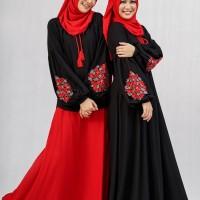 Setelan Rok Al-Hambra Baju Muslim Dannis Dewasa - Hitam Bunga Bunga