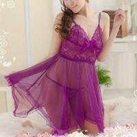 Sexy Lingerie Transparan Ungu + Gstring / Baju Tidur Wanita / PRL008