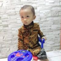 best model Baju batik anak lakai laki kombinasi hem anak baju atasan