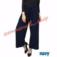 Celana kulot plisket panjang polos warna navy dengan tali pinggang B