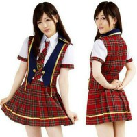 Kostum AKB48 Iiwake Maybe Rok Tartan Costume Seifuku Idol Cosplay