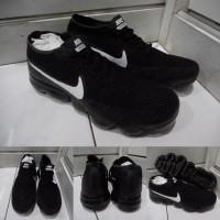 Sepatu Lari Jogging Nike Vapormax Running Black White Hitam