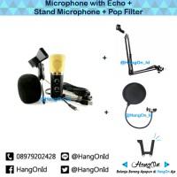 harga [paket Lengkap] Microphone Condenser Recording Standing Mic Pop Filter Tokopedia.com