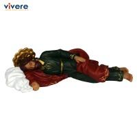 Patung St Joseph Sleeping 16 cm Warna Hijau Merah Tua