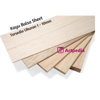 kayu balsa sheet 5mm ukuran 10cm x 50cm