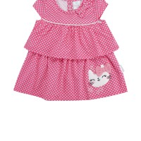 Pipiniko Ruffle Susun Cat Pita Dress Anak - Pink