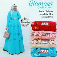 Fashion Muslim Gamis Polos Merek Glamour Model Pita