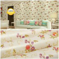 Harga wallpaper stiker dinding krim batik bunga mawar merah ungu | Pembandingharga.com