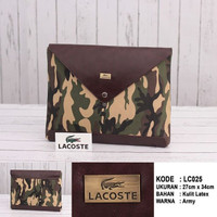 (LACOSTE) CLUTCH BAG / TAS AMPLOP UNISEX COKLAT ARMY IMPORT BRANDED