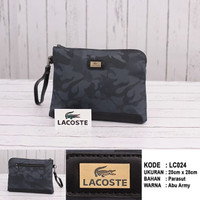 (LACOSTE) CLUTCH BAG UNUSEX KULIT IMPORT ARMY BRANDED