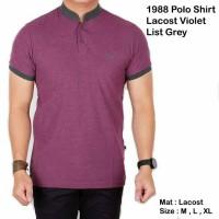 kaos polo shirt lavost violet list grey
