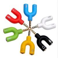 Konektor Jack Y Spliter U Aux 3.5mm ke Audio Headset & Mic Splitter