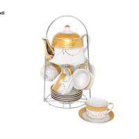 Set Cangkir + Teko Tea Set C96 Motif PADI, VICENZA, Desain ELEGAN